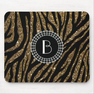 Animal Print Glitter Zebra Pattern and Monogram Mouse Pad