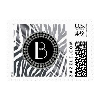 Animal Print Glitter Zebra Pattern and Monogram Postage
