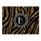 Animal Print Glitter Zebra Pattern and Monogram Postcard