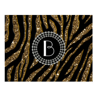 Animal Print Glitter Zebra Pattern and Monogram Postcard