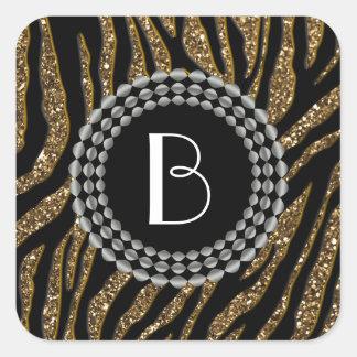 Animal Print Glitter Zebra Pattern and Monogram Square Sticker