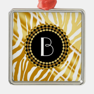 Animal Print Golden Zebra Pattern and Monogram Metal Ornament