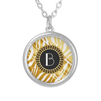 Animal Print Golden Zebra Pattern and Monogram Jewelry