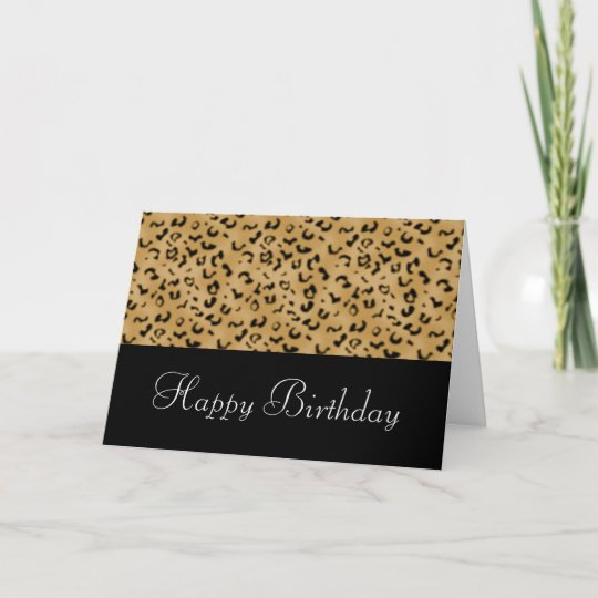 Animal Print Happy Birthday Card Customizable