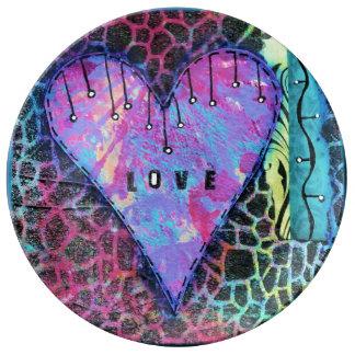 Animal Print Heart Love Plate