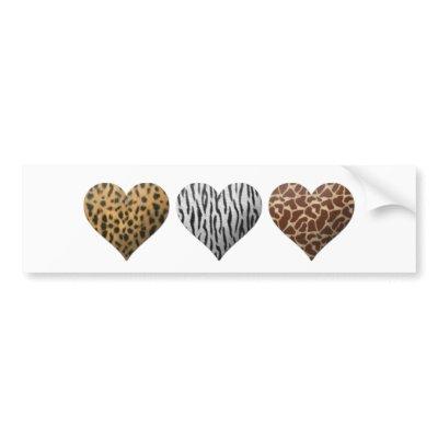 Animal Print Hearts Bumper Sticker $ 4.75