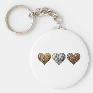 Animal Print Hearts Keychain