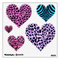 Animal Print Hearts Wall Decals