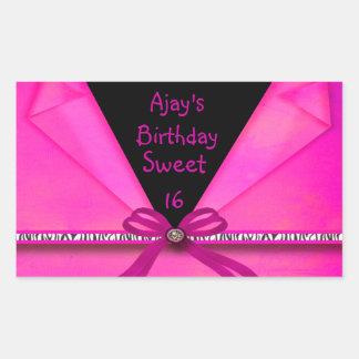 Animal Print Hot Pink & Black Folded Sweet 16 CS Rectangular Sticker