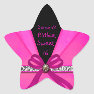 Animal Print Hot Pink & Black Folded Sweet 16 Star Sticker