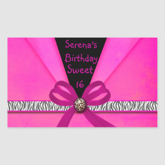 Animal Print Hot Pink & Black Folded Sweet 16 Rectangular Sticker
