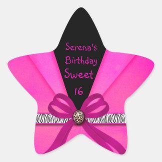 Animal Print Hot Pink & Black Folded Sweet 16 Star Sticker