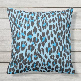 Animal Print, Leopard Spots - Blue Black Throw Pillow