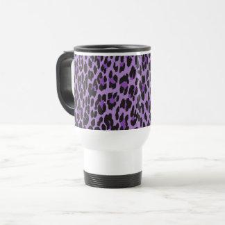 Animal Print, Leopard Spots - Purple Black Travel Mug