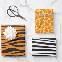 Animal Print Pattern Wild Animals Birthday Wrapping Paper Sheets