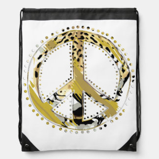 Animal Print Peace sign I + your backgr. & ideas Drawstring Bag