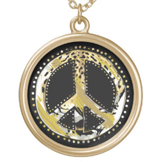 Animal Print Peace sign I + your backgr. & ideas Gold Plated Necklace
