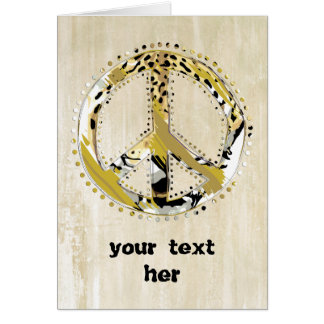 Animal Print Peace sign I + your backgr. & ideas Greeting Card