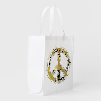 Animal Print Peace sign I + your backgr. & ideas Grocery Bag