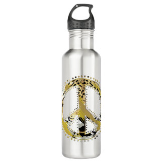 Animal Print Peace sign I + your backgr. & ideas Stainless Steel Water Bottle