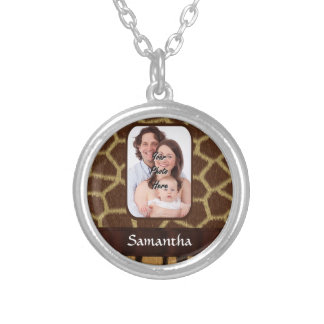 Animal print photo background silver plated necklace