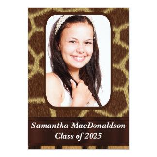 Animal print photo graduation card