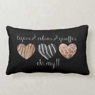 Animal Print Pillow, Tigers Zebras Giraffes OH MY! Throw Pillow