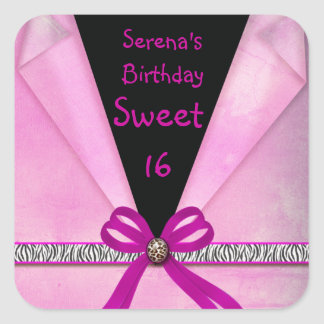 Animal Print Pink & Black Folded Sweet 16 Square Sticker