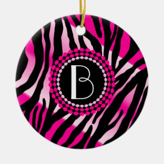 Animal Print Pink Zebra Pattern and Monogram Ceramic Ornament