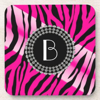Animal Print Pink Zebra Pattern and Monogram Drink Coasters