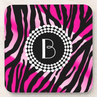Animal Print Pink Zebra Pattern and Monogram Drink Coaster