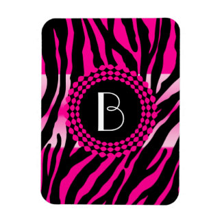 Animal Print Pink Zebra Pattern and Monogram Magnet