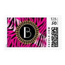 Animal Print  Pink Zebra Pattern and Monogram Postage