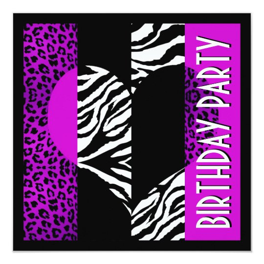 Animal Print Purple Leopard Black and White Zebra Card