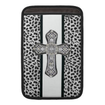 Animal Print Rhinestone Cross MacBook Sleeve