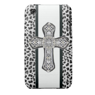 Animal Print Rhinestone Crusted Cross Iphone3 Case iPhone 3 Case-Mate Cases