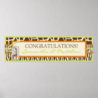 Animal Print Safari and Giraffe Baby Shower Banner