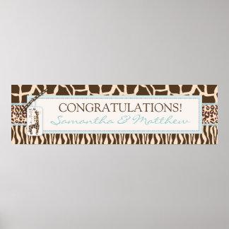 Animal Print Safari & Giraffe Baby Shower Banner