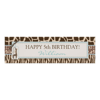 Animal Print Safari & Giraffe Birthday Banner