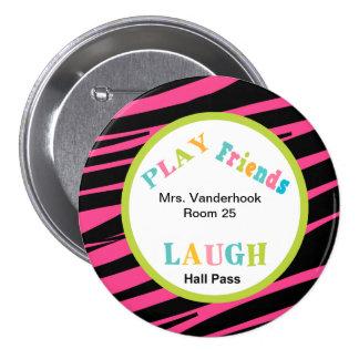 Animal Print School Helper Hall Pass Button