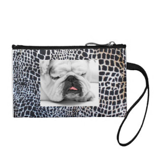 Animal Print Sleeping Bulldog Change Purse