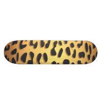 Animal Print, Spotted Cheetah - Black Yellow Skateboard Deck