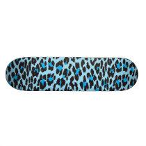 Animal Print, Spotted Leopard - Blue Black Skateboard Deck