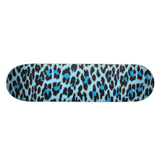 Animal Print, Spotted Leopard - Blue Black Skateboard Deck