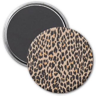 Animal Print, Spotted Leopard - Brown Black 3 Inch Round Magnet
