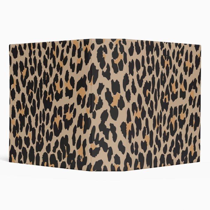 Animal Print, Spotted Leopard - Brown Black 3 Ring Binder