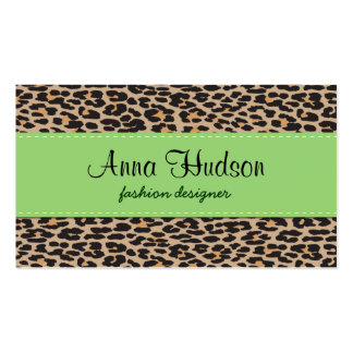 Animal Print, Spotted Leopard - Brown Black Business Cards