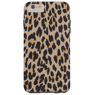 Animal Print, Spotted Leopard - Brown Black Tough iPhone 6 Plus Case