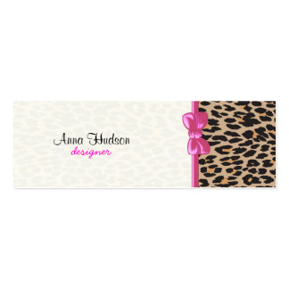 Animal Print, Spotted Leopard - Brown Black Double-Sided Mini Business Cards (Pack Of 20)
