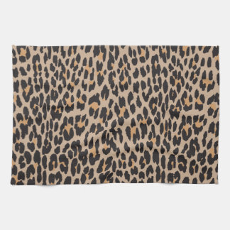 Animal Print Spotted Leopard - Brown Black Hand Towels